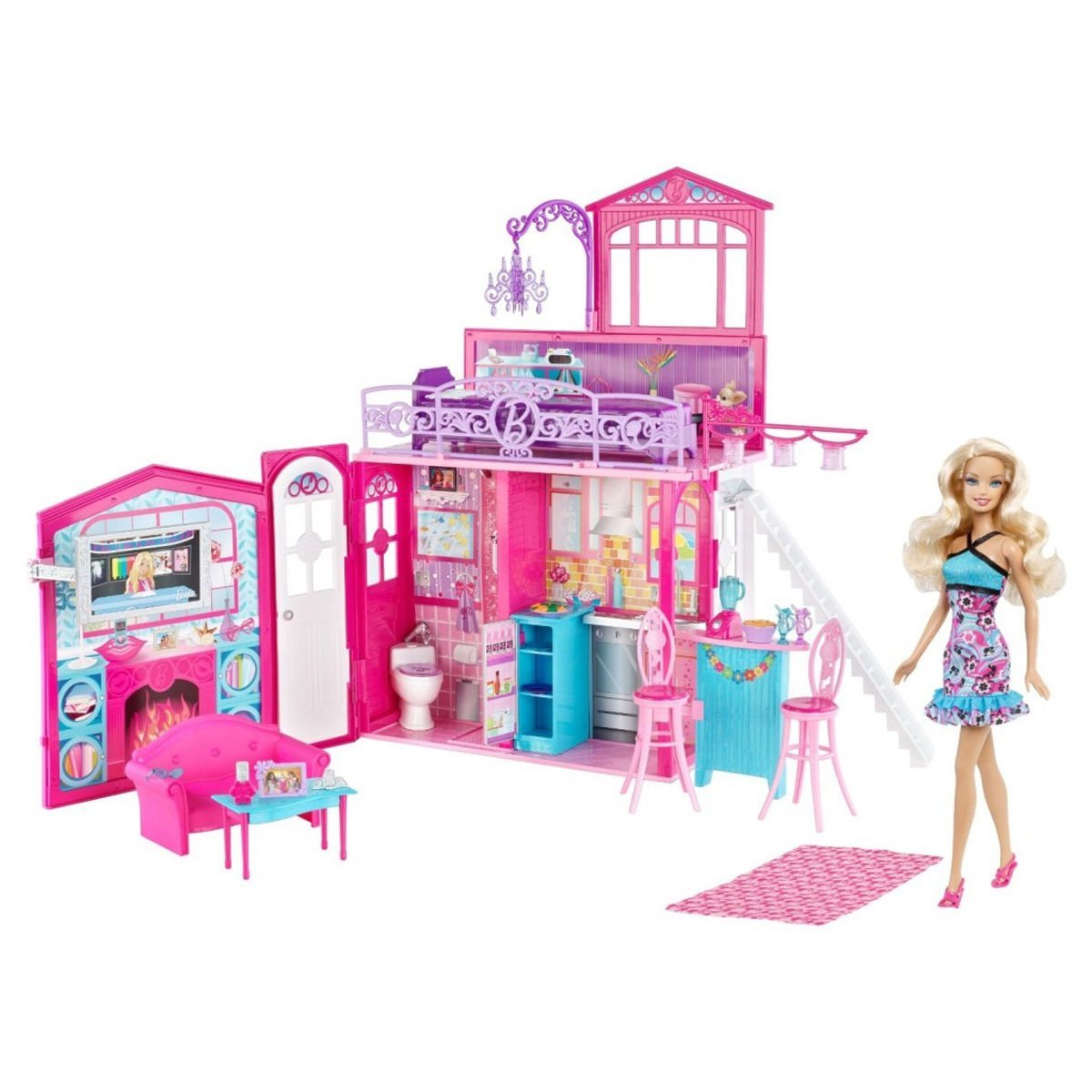 Barbie Glam Kitchen Set: Barbie Glam Vacation House Dollhouse Playset With Doll