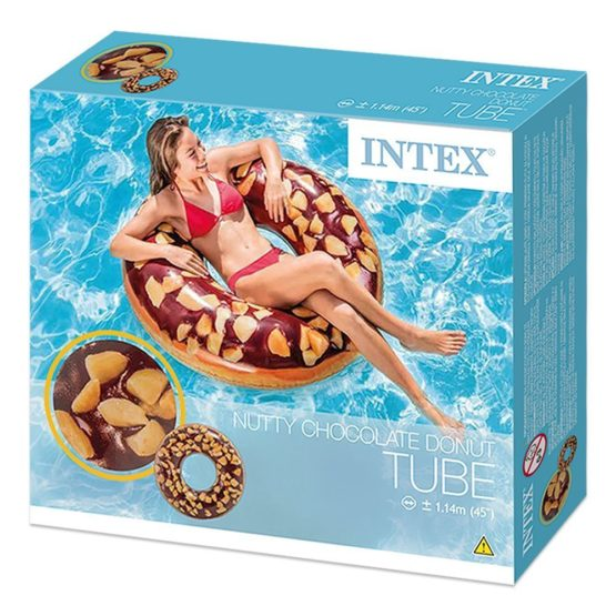Inflatable Nutty Chocolate Donut Tube Pool Float