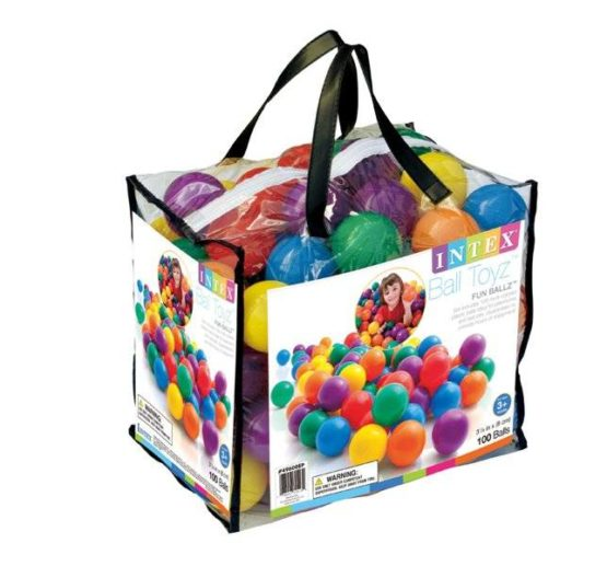 Intex 100 Fun Balls With Carry Bag ( 8 cm Diameter)