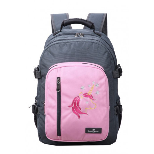Faber-Castell Wanderer Bag 3 Compt Backpack, Dark Grey&Pink Unicorn