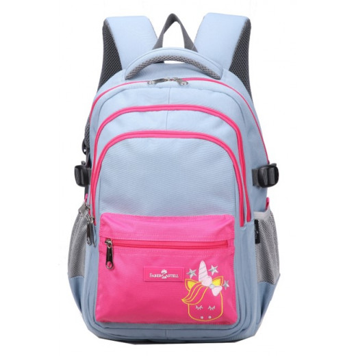 Faber-Castell School Bag 4 Compt Backpack, Light Grey&Pink Unicorn