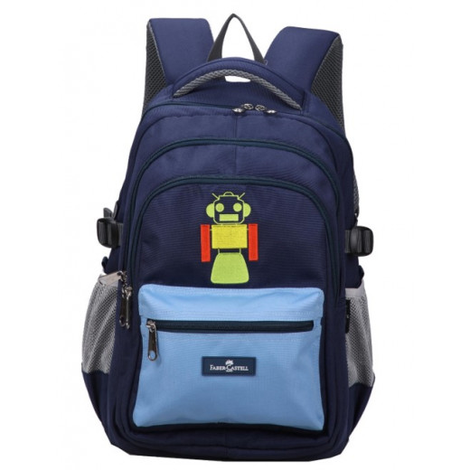 Faber-Castell School Bag 4 Compt Backpack, Dark Blue & L Blue Robot