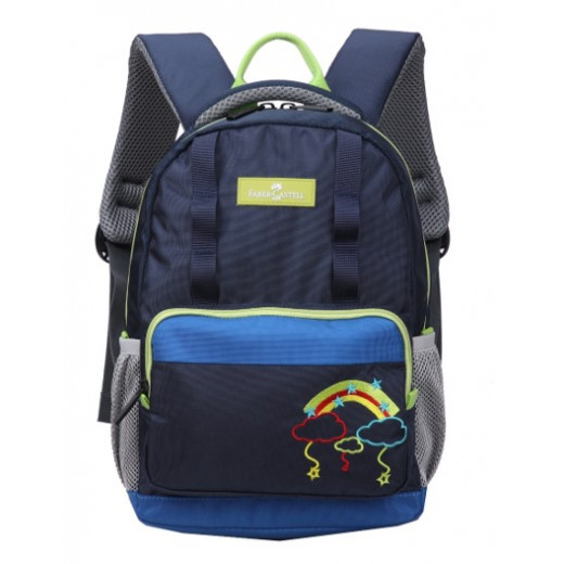 Faber-Castell The Minies Bag one Compt Backpack, Dark Blue & Yellow Clouds