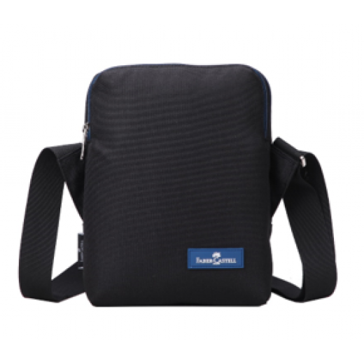Faber Castell Insulated School Lunch Bag 2-Compartment, Black&Blue Zipper