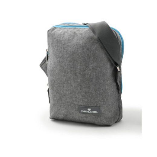 Faber Castell Insulated School Lunch Bag 2-Compartment, Grey&Turquoise Zipper