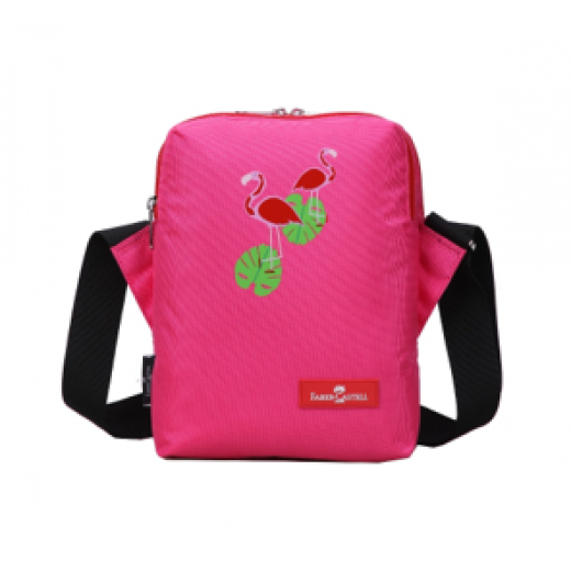 Faber Castell Insulated School Lunch Bag 2-Compartment, Pink & Flamingo