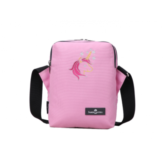 Faber Castell Insulated School Lunch Bag 2-Compartment, Dark Grey & Pink Unicorn