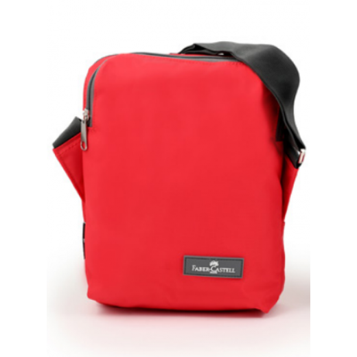 Faber Castell Insulated School Lunch Bag 2-Compartment, Red&Grey Zipper
