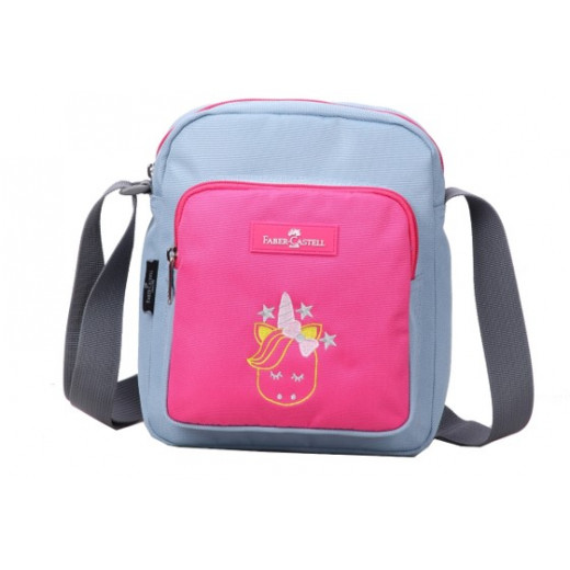 Faber Castell Insulated School Lunch Bag 4-Compartment, Light Grey&Pink Unicorn