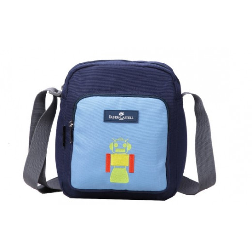 Faber Castell Insulated School Lunch Bag 4-Compartment, Dark Blue&Blue Robot