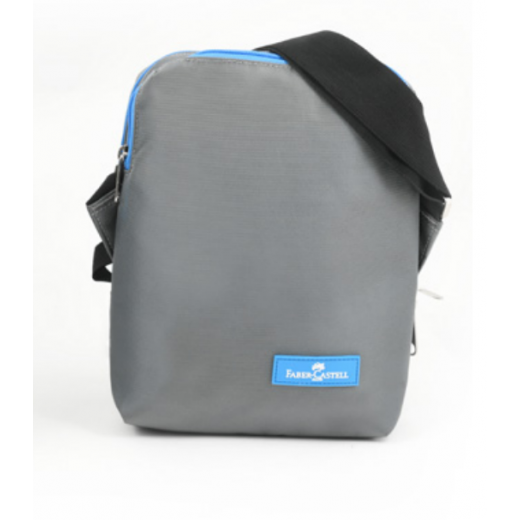 Faber Castell Insulated School Lunch Bag 2-Compartment, Grey&Blue Zipper