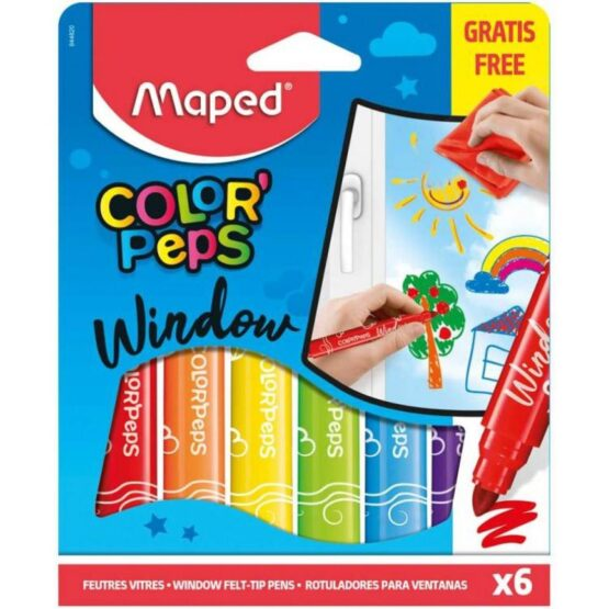 Maped Pack Of 6 Color' Peps Markers for Window