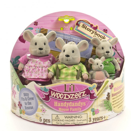 Li'l Woodzeez The Handydandy Mouse Family with storybook