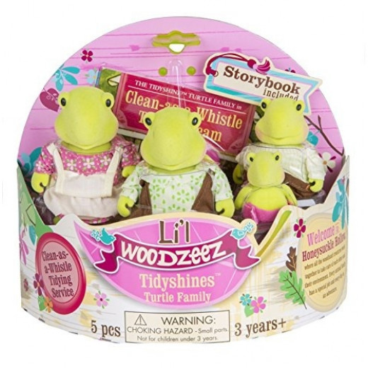 Li'l Woodzeez Tidyshines Turtle Family Set with Storybook