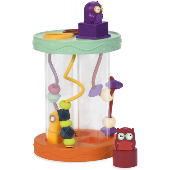 B Toys Hooty-Hoo Owl | Shape Sorter with Whacky Sounds & Bead Toy Maze