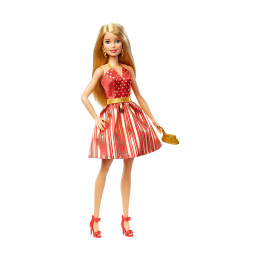 Barbie Holiday Doll with Red & Gold Dress | Blonde