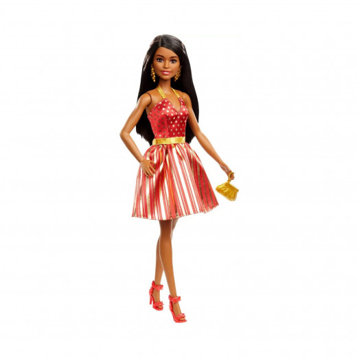 Barbie Holiday Doll with Red & Gold Dress | African American