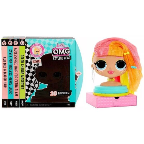L.O.L. Surprise! O.M.G. Styling Head Neonlicious W | Stick-On Hair