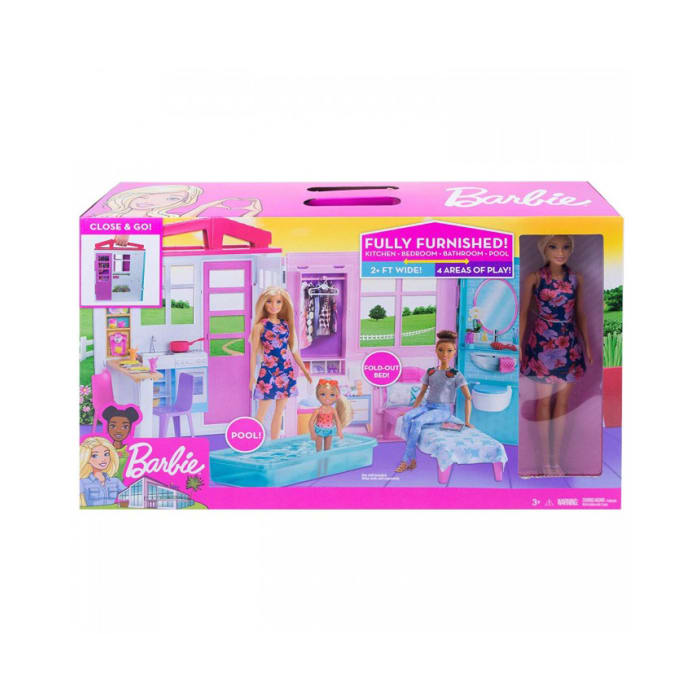 Barbie Doll and Dollhouse | Portable 1-Story Play set | with Pool