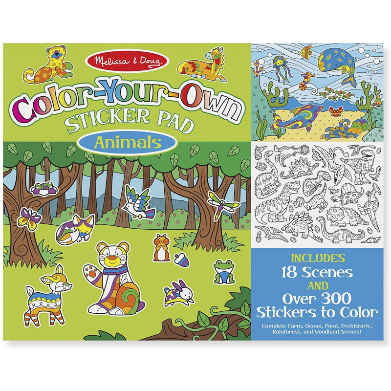 Melissa & Doug Color-Your-Own Sticker Pad – Animals
