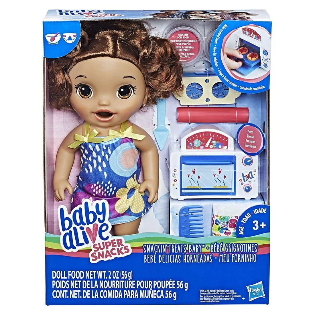 Baby Alive Snackin' Treats Baby   Brown Curly Hair