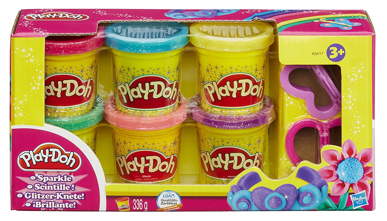 Play-Doh Sparkle Compound Collection 6 Mini Pots And 2 Cutters