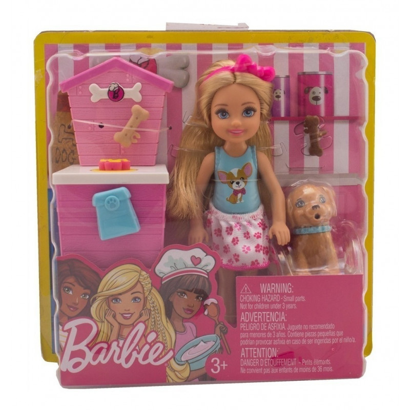 Barbie Chelsea Pet Food Shop Playset with Doll and Puppy