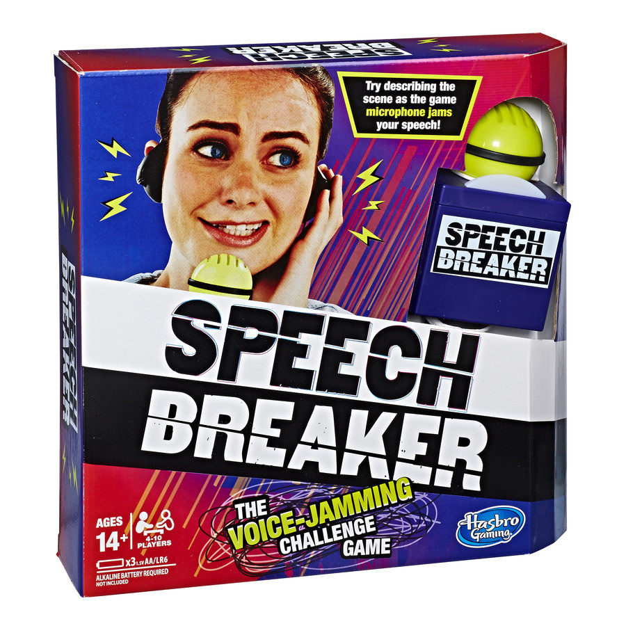 Hasbro – Speech Breaker Game Voice Jamming Challenge Microphone Headset Electronic Party Game