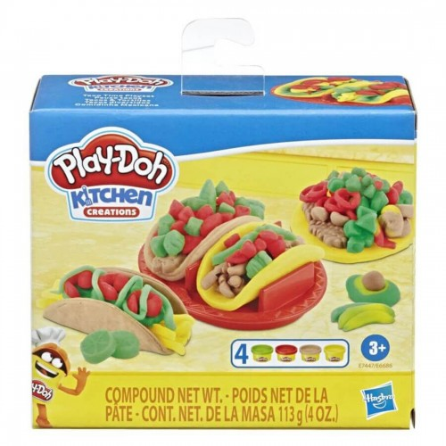 Play-Doh Kitchen Creations Taco Time Play Food Set for Kids 3 Years & Up with 4 Non-Toxic Colors